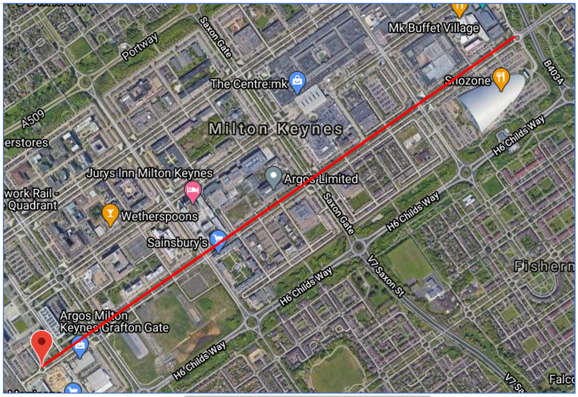 Short Route between two waypoints in Milton Keynes