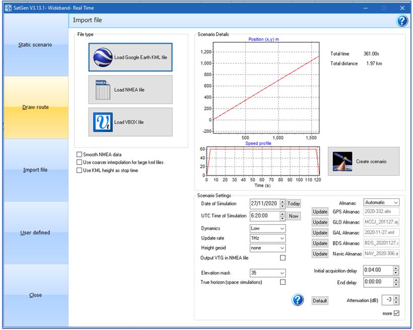 SatGen Software Settings 35 degree elevation mask angle