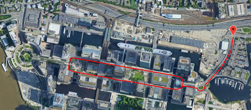 Canary Wharf Drive Route